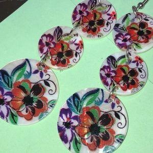 Pretty Floral Design on Shell Earrings